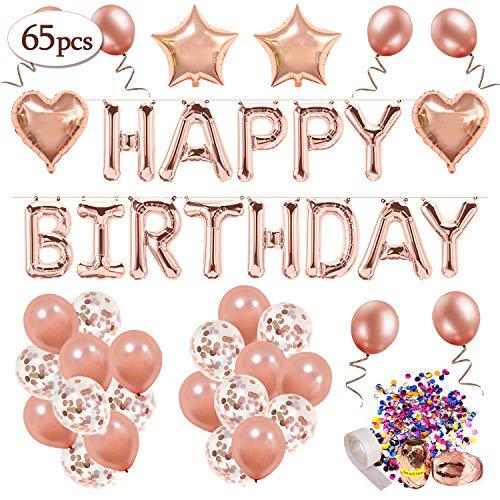 MMTX Geburtstagsdeko Rosegold, Happy Birthday Girlande Ballons Banner Buchstaben Folienballon Rosegold,Geburtstag Rose Deko mit Rosa Gold Ballons,Konfetti Luftballons Dekoration für Mädchen Tochter