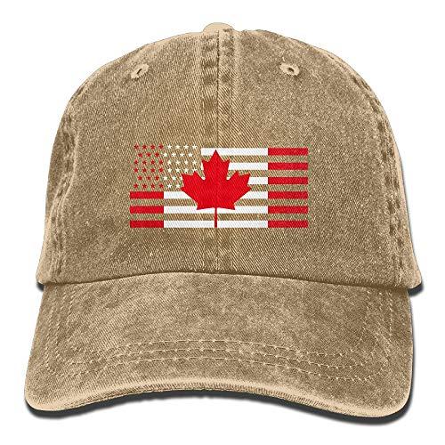 (Unisex Adult USA Canada Flag Washed Denim Cotton Sport Outdoor Baseball Hat Adjustable One Size Multicolor48)