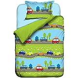 Aminata Kids - bunte Jungen-Kinder-Bettwäsche 100x135 Auto hochwertige Baumwolle mit Reißverschluss Bettwäsche-Kinder Autos Jungs-Motiv