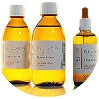 Preisvergleich für PureSilverH2O 600ml Kolloidales Silber (2X 250ml/10ppm) + Pipettenflasche (100ml/50ppm) Reinheit & Qualität seit...