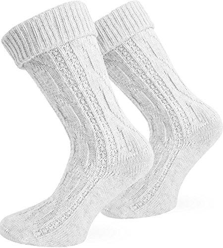 normani Kurze oder Lange Trachtensocken Trachtenstrümpfe Zopf muster Socken meliert Farbe Weiß Größe 43/46