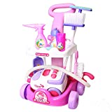 Cleaning Cart Play Set Household Appliances Tools Toys Vacuum Cleaner Cleaning Trolley for Kids