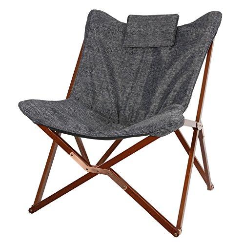 Loungesessel 95x73x83cm Holzgestell klappbar Schmetterling Sessel grau Stuhl