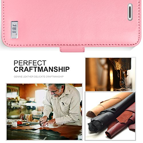 iPhone 8 Hülle , iPhone 7 Hülle, Fyy® [RFID Blockierender Geldbeutel] [Echtes Leder] 100% handgenähter Geldbeutel mit Kartenhaltern für iPhone 8/7 ,Schwarz 1AA-Pink