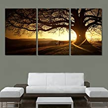 XrsArt 3 moderno panel Impreso árbol Pintura Cuadro Cuadros Sunset lienzo Arte de la pintura de pared Decoración para sala de estar sin marco FCa04 sin marco de 36 pulgadas x 20 pulgadas