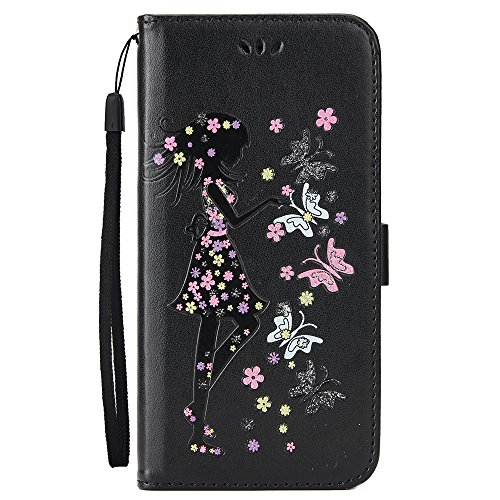 HX438【neue Artikel】Mit der Hand Seil iPhone 6plus/6S plus Handyhülle Case für iPhone 6plus/6S plus Hülle im Bookstyle,XFAY Huelle Stand Halter Magnetverschluss Schmetterling Blumen schöne Mädchen, PU  schwarz