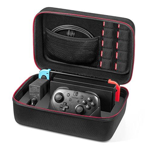 Etui pour Nintendo Switch - Younik Deluxe housse de transport à coque rigide pour Console Switch, Switch Dock, adaptateur secteur, câble HDMI, Manette Pro et 10 cartouches de jeu