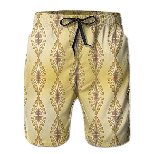 Men's Summer Beachwear Quick Dry Board Shorts Casual Athletic Beach Surfing Shorts for Deco Gold Fabric (4775) Pattern (XXL) (Board Gold Banana)