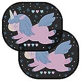 Chesbung Tendine parasole auto per bambini e neonati - Parasole bambini accessori auto - Protezione ottimale raggi UV - 2 pezzi 44.6 * 35.8cm - Nere oscuranti con animali