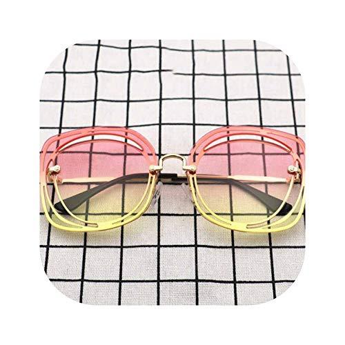 FIRM-CASE Quadrat Sonnenbrille Frauen höhlen Ozean-Objektiv-Gläser Männer Retro Metall-große Feld-Gradient Brille, 4