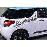 Design - Folienaufkleber ***Notenband inkl. Schmetterlingsset*** - 2er Set (für beide Fahrzeugseiten) Größen und Farbauswahl