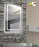 Badspiegel Wandspiegel Silber 50x70cm mit indirekter LED Beleuchtung, Touch Sensor, Energieklasse A+, extra flach