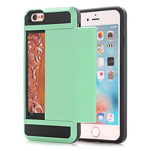 Alfort cover iphone 5c, custodia iphone 5c pc + silicone tpu case, il coperchio posteriore può scorrere e inserire la scheda (verde menta)