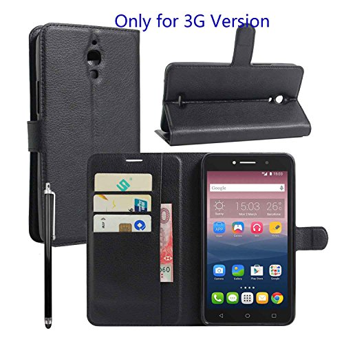 Owbb Folio Brieftasche Ledertasche für Alcatel Onetouch Pixi 4 (Nur für die 3G-Version) 6.0 Zoll Smartphone mit Ständerfunktion und card holder-Schwarz