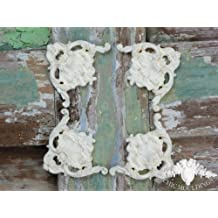 Shabby Chic Moulding Applique Ornate Set of 4 Large Corners Perfect for Frames Decorative Furniture Trim Embellishment Onlay