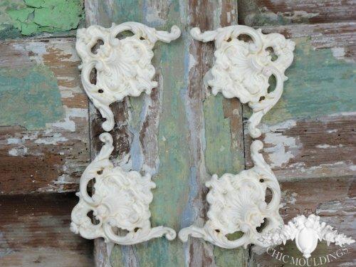 Shabby chic modanatura applique ornate set di 4 grandi angoli