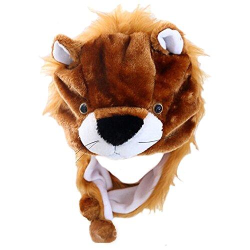 FY Unisex Adulto Animal Niños Orejera Sombreros Divertido Gorras Cálida Felpa Lindo Cosplay Disfraces Hat Regalo Fiesta Carnaval Accesorios León