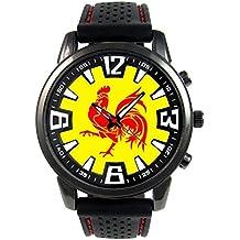 Valonia Wallon Flag Rooster Reloj para hombre con correa de silicona