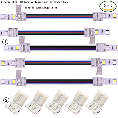 Preisvergleich Produktbild Kabenjee 5X 5 polig 10mm Breit RGBWW Bänder Verlängerungsstecker Jumper, 17cm Lange LED Stripe Verbinder Verteiler Adapter Eckverbinder, lötfrei Verbindungskabel Anschlusskabel zwischen RGBW-Band