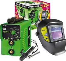 GYS électrodes de soudage machine 160 A, avec Casque de soudeur LCD, vert, Onduleur 4000 et LCD Master 11