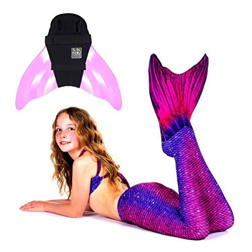 erjungfrauen Flossen Set zum Schwimmen Kostüm Bali Blush Monoflosse Keiki Kinder Nunui Erwachsene XL pink ()