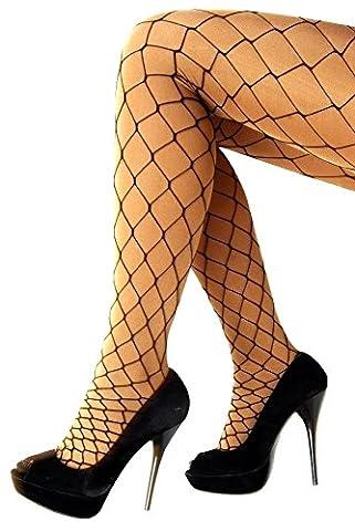 Krautwear® Damen Netzstrumpfhose Netz Strumpfhose Weitmaschig Grob Gemustert Schwarz Mit Groben Maschen Fasching Karneval Cosplay
