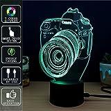 3D Touch Nachtlicht, Fipart 7 Farbe 3D Umgebungslicht mit Acryl-Panel und LED-Halter LED Dekoration Smart USB,Kamera