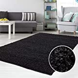 carpet city Teppich Shaggy Hochflor Langflor Flokati Einfarbig/Uni aus Polypropylen in Schwarz für Wohn-Schlafzimmer, Größe: 70x140 cm