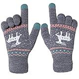 Chalier Damen Strick Handschuhe Touchscreen warme Fäustlinge Winter Damenhandschuhe mit Fleecefutter