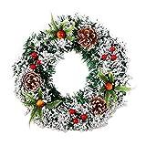 Weihnachtskranz Weihnachtsgirlande Tannengirlande Traditionelle und Weiße Weihnachtsgirlande mit Kugel und Beere Weihnachtsdeko Girlande für Innen und Außen, Hochzeit, Shopping Center, Thanksgiving