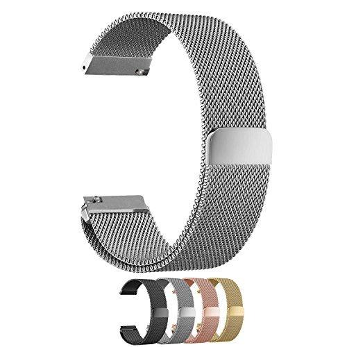 cbin Quick Release Armband–Wahl der Farbe und Breite 14mm/16mm/18mm/20mm/22mm/24mm Edelstahl voll Magnetverschluss Milanaise Armbanduhr BANDS für Männer und Frauen, damen, silber (Quick-release-ringe)