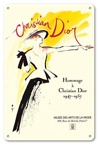 Pacifica Island Art 22cm x 30cm Vintage Metallschild - Tribut für Christian Dior 1947-1957 - Eine Ausstellung im Kunst- und Modemuseum in Paris - Vintage Retro Museums Plakat von René Gruau c.1987