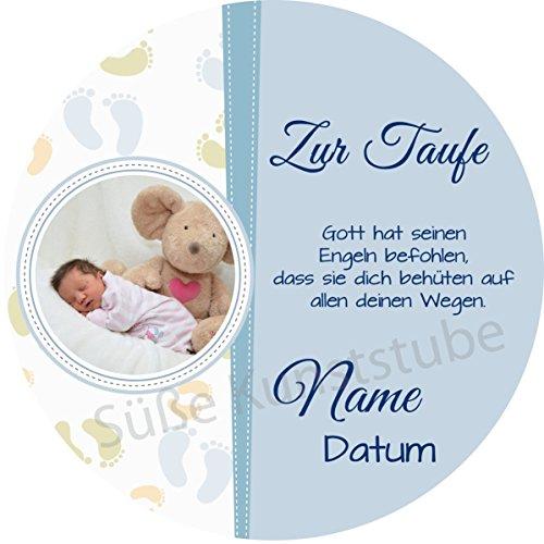 Tortenaufleger Taufe6 blau mit Wunschtext / 20 cm Ø