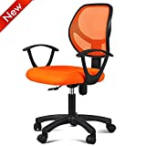 Popamazing Fabric Mesh Adjustable Swivel Computer Desk Chair With Arms Seating Back Rest in Red / Black/ Orange New (Orange)