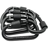 Nuoxinus Nuoxinus Aluminum Locking Carabiner Clip (Pack Of 5) Durable Lightweight D-ring Spring Snap Keychain Hook Screw Gate Buckle For Home Outdoor Camping Hiking Fishing Traveling Backpack (Black)