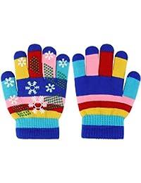 Guantes de invierno para niños Guantes de rayas de colores de punto Guantes mágicos para dedos completos Guantes elásticos y cálidos para niños y niñas, unisex, 5-10 años, 1 par