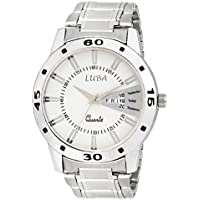 Luba White Dial Analogue Day And Date Displaying Stainless Steel Chain Watch For Boys/Men_Luba172