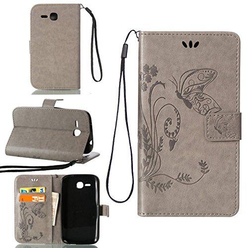 Guran® PU Ledertasche Case für Huawei Y600 (5 Zoll) Smartphone Flip Cover Wallet und Stent-Funktions Hülle Geprägtes Schmetterling Muster Etui - Grau