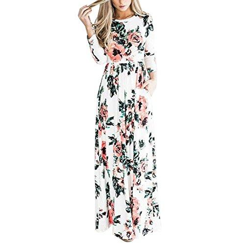 LAEMILIA Robe Longue Femme Eté à Fleur Manches Longues Col Rond Casual Vintage Slim Robe de Club Florale Lâche Soirée