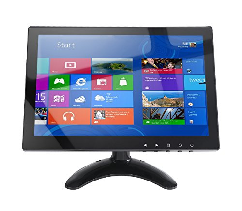 10,1 Zoll CCTV Monitor IPS LCD HDMI Farbbildschirm 1280x800 170 ° Blickwinkel mit AV/VGA / HDMI/BNC / AUX/Audio Ports Lautsprecher Eingebaut, für Haus Sicherheit, CCTV Kamera, PC-Anzeige