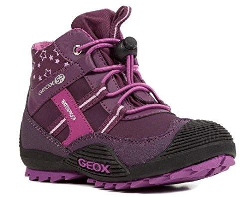 Geox J847HA Atreus WPF Mädchen Stiefel, Übergangsschuh, Wasserdicht, Fleece-Futter, Atmungsaktiv, Wechselfußbett Pink (Purple/Pink), EU 27