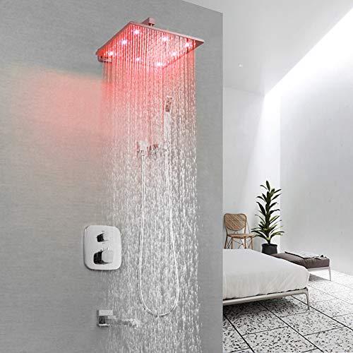 DFRQJHQGH Waschbecken Wasserhahn - Zeitgenössische Chrom Wandmontage Messing Ventil Badewanne Dusche Mischbatterien/Einhand Vier Löcher (Einhand-dusche-ventil)