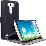 LG G3 Hülle, Terrapin Leder Tasche Case Hülle im Bookstyle mit Standfunktion Kartenfächer für LG G3 Schwarz