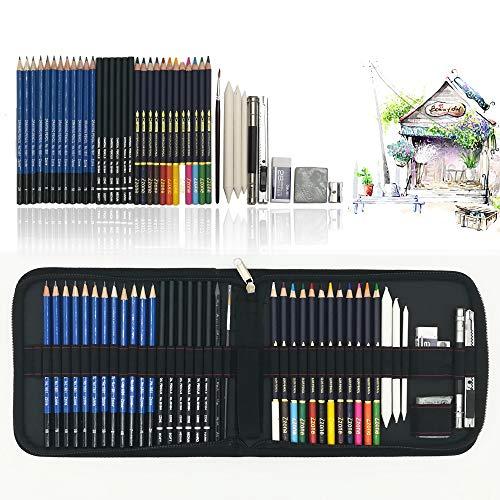41 kit da disegno professionale con disegni a matita, matite acquerellabili, grafite matita Strumento di disegno in astuccio grande, miglior regalo di disegno per artisti, studenti, bambini