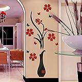 3D Wandtattoo, Sunday Acryl Wandaufkleber Wandsticker für Home Decor Schlafzimmer Wohnzimmer Wanddekoration DIY Vase Blumen Baum Kristall Wandaufkleber Aufkleber (80*40cm, B)