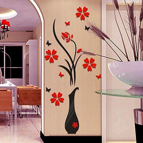 3D Wandtattoo, Sunday Acryl Wandaufkleber Wandsticker für Home Decor Schlafzimmer Wohnzimmer Wanddekoration DIY Vase Blumen Baum Kristall Wandaufkleber Aufkleber (80*40cm, B) (Home Decor Bäume)