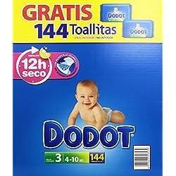 Dodot - Pack pañales bebés + toallitas - Talla 3, 4-10 kg, 144 unidades