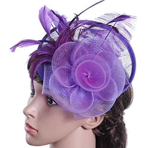 Swallowuk Frauen Mode Elegante Gaze Blume Cocktail Hut Hochzeit Party Hats (Lila)