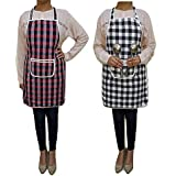 Lucky Star Cotton Kitchen Multi Colour Apron With Front Pocket - Set Of 2