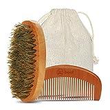 Brosse à barbe, Barbe peigne 2 pcs, Breett 100% naturel kit de soins de la barbe, Cheveux Soin Cheveux Kit, poils de sanglier naturel de haute qualité, un peigne anti-électrostatique